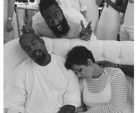 James Harden, Kanye West, and Kris Jenner